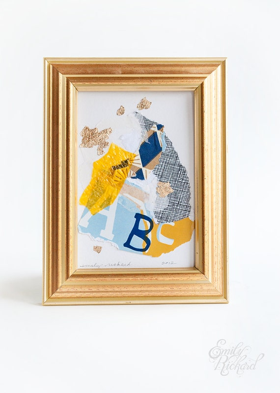 Gold Flakes (tiny abc), Framed Original Abstract Collage on Paper