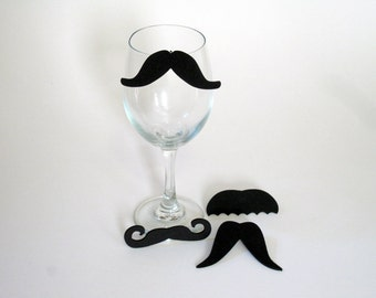 Funny Mustache Wine Charms (Set of Four to clip on your glass) (Moustache) Funny Valentines Gift