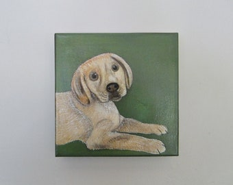 dog painting, pet art, pet portrait- 8x8 inch canvas- custom dog painting- dog lover gift idea- custom painting of your pet-redtilestudio
