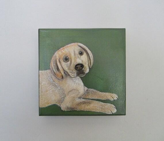 dog painting, pet art, pet portrait- 8x8 inch canvas- custom dog painting- dog lover gift idea- custom painting of your pet-redtilestudio