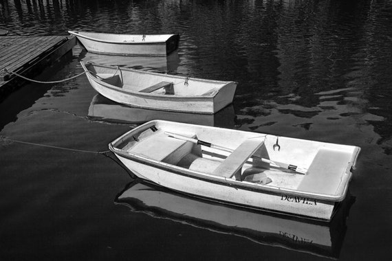 Three White Row Boats on a Lake by the Dock in Maine No.02BW A Black and White Fine Art Nautical Boat Photograph