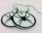 Gothic Spider Earrings in Black and White