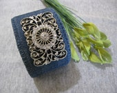 Denim Cuff Bracelet with Vintage Shoe-clip and Bling