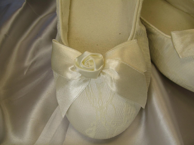 Wedding Shoes Ivory Ballet Flats Satin Rose Ivory Lace Flat
