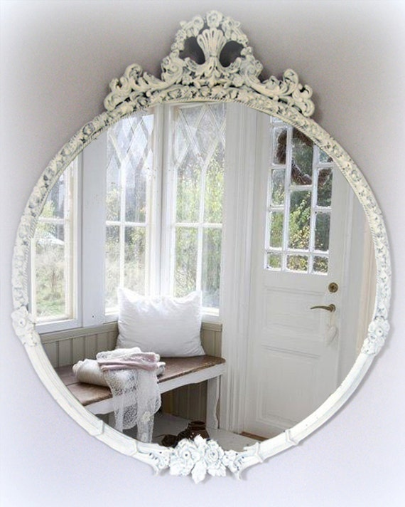 large vintage shabby chic mirror cottage chic french country. Black Bedroom Furniture Sets. Home Design Ideas