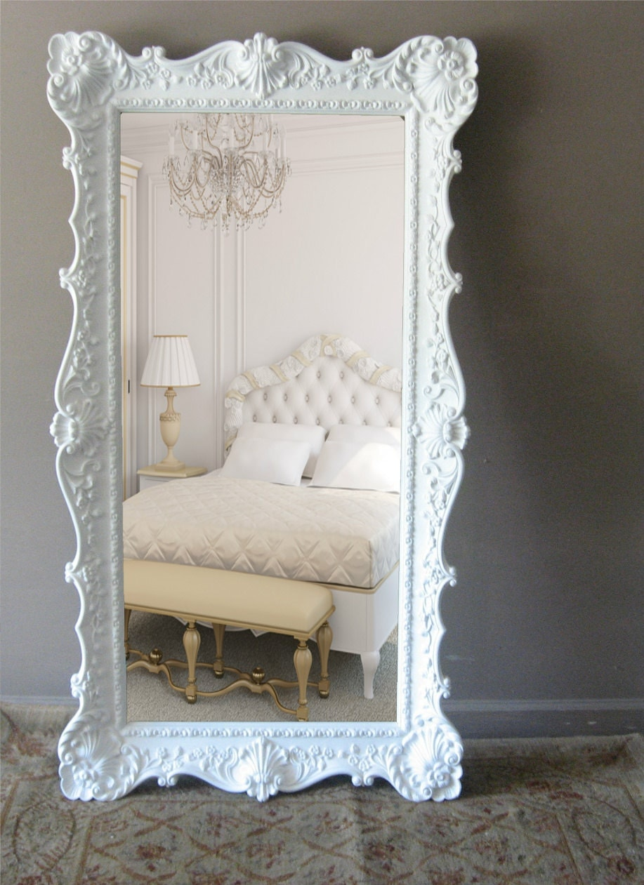 L e a n i n g mirror vintage floor mirror hollywood regency for Floor mirror white frame