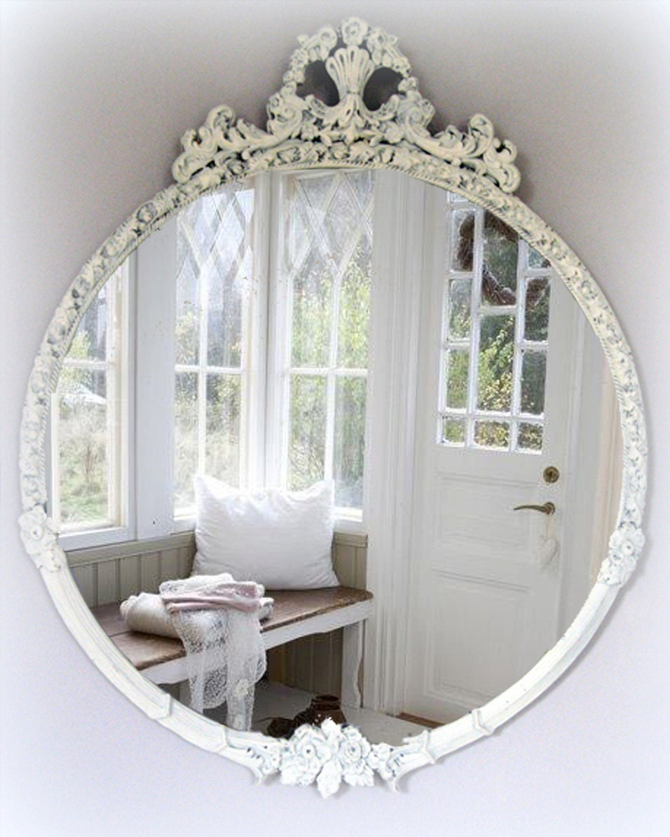 Large vintage shabby chic mirror cottage chic french country - What is shabby chic ...