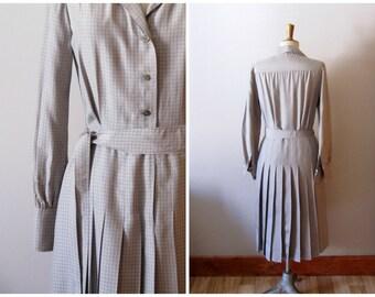 vintage 1970s J. Tikitiner dress / vintage 70s designer silk plaid dress