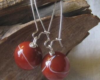 terra cotta agate drop earrings