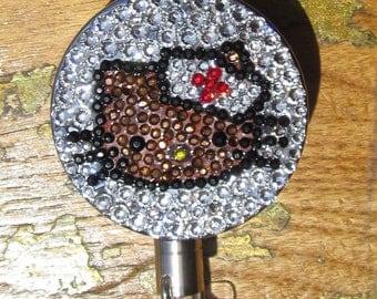 Chocolate nurse kitty rhinestone ID badge reel