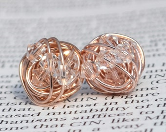 Clear crystal - Rose Gold Series- Clear Swarovski crystal beads and Rose gold Wire Wrapped Stud Earrings