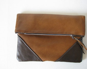 Fold Over Clutch Bag / Cosmetic Bag / Hand Bag --Brown & Cognac Leather