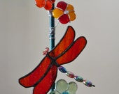 Dragonfly Suncatcher Stained Glass Dragonfly with Fused Glass Flowers