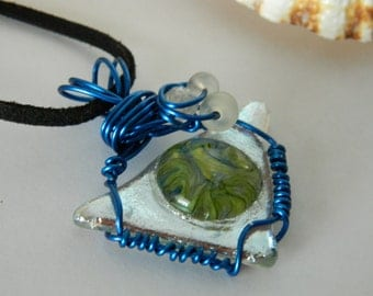 Pendant Fused Glass Triangle Pendant Color Bubble and Silver Dichroic Triangle wire wrap