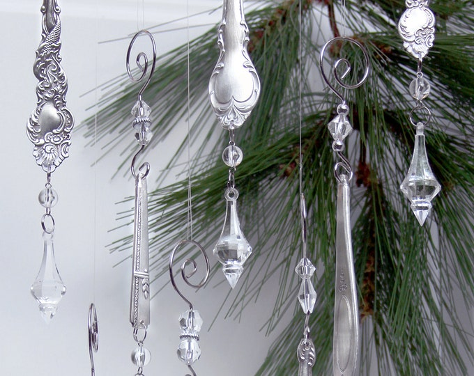 Vintage silver plate  ornament pair, Antique silver, crystal icicles, prism windows, silver ice, dangling xmas, classic christmas tree gift