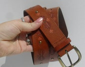 Cool TOOLED ---Up-cycled Hand Painted--- VINTAGE BELT --Coral  and Rose accents ---Large--with studs