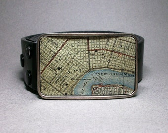 Belt Buckle New Orleans Louisiana Map on Metal Unique Handmade Gift for Men or Women