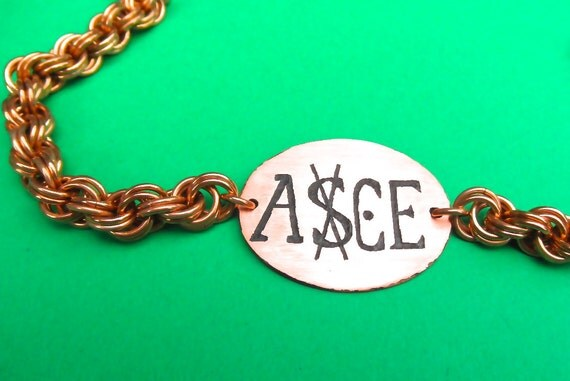 One Piece Ace anime manga inspired bracelet etched copper ASCE
