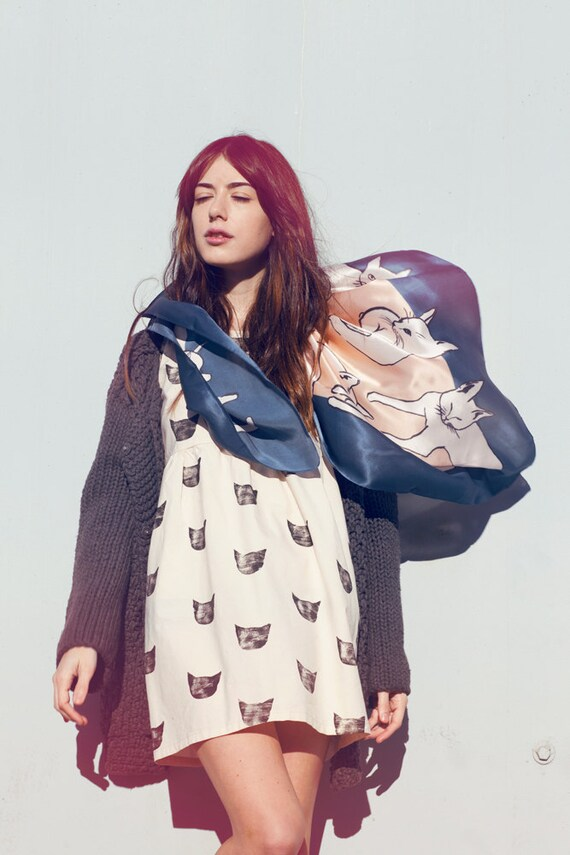 Picasso Cats Scarf - Silk Charmeuse