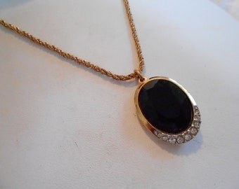 Vintage pendant, black glass and crystal pendant, elegant pendant, 1970s pendant and chain, vintage 1970s jewelry