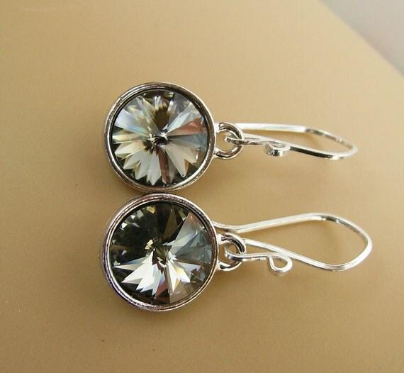 Black Diamond, Sterling Silver Earrings- Swarovski Rivoli Round Crystal  Drop
