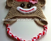 Sock Monkey Hat with Flower -ANY COLOR- Made to Order