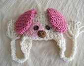 Baby Hat - Baby Puppy Hat - Baby Girl Puppy Dog Hat - Spotted Puppy Cute and Soft Earflap - by JoJosBootique