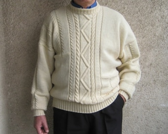 Cable Fisherman Knit Sweater, Mens Wool Pullover, Vintage inspired Clothing, Natural White Cable Sweater, Gift Idea For Him, CUSTOM Sweater