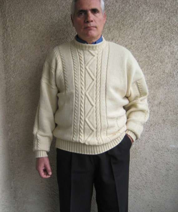 Cable Fisherman Knit Sweater Mens Wool Pullover Vintage
