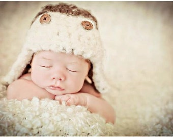 Newborn Baby Boy Photo Prop Aviator Hat