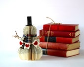 VINTAGE BOOK SNOWMAN with heart banner ///  made to order