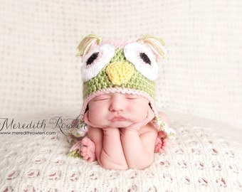 Crochet Baby Owl Earflap Hat - Newborn to 10 years - Soft Pink and Pistachio - MADE TO ORDER