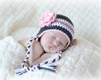 Crochet Baby Stripe Earflap Hat with Flower - Newborn to 10 years - Charcoal, Soft Pink, Heather Grey, White - MADE TO ORDER