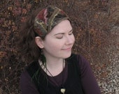 Crazy Patchwork Headband - Red and Brown - Wearable art