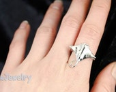 SALE Sterling Silver Manta Ray Ring Size Adjustable