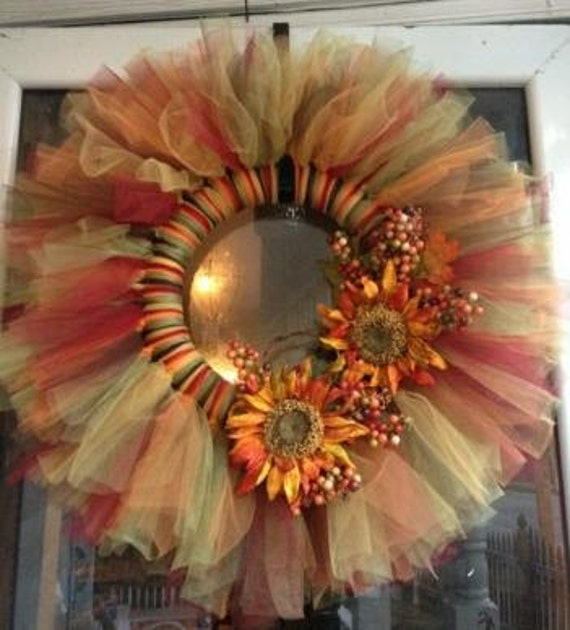 Items Similar To Fall Tulle Wreath On Etsy