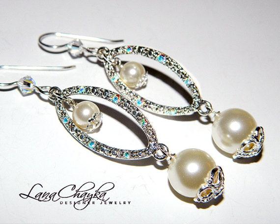 RESERVED Wedding Pearl Earrings Swarovski Ivory Cream Sterling Silver Long Dangle Bridal Swarovski Connector Free US Shipping