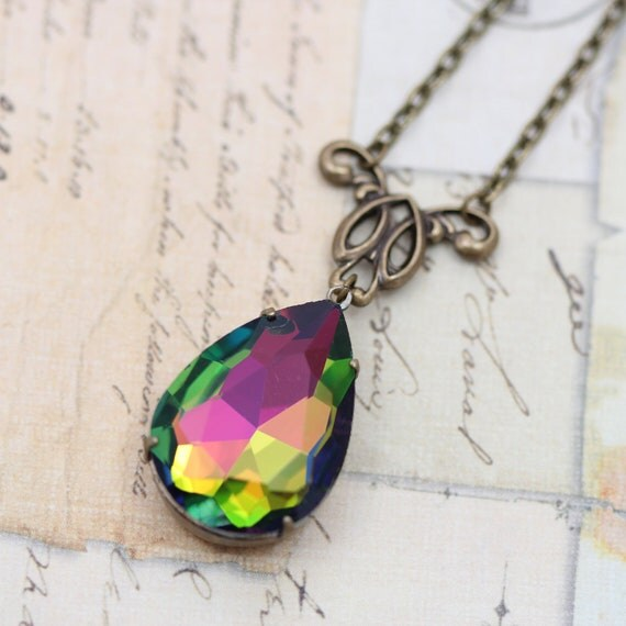 """Vintage Vitrail Rainbow Jewel Necklace Multi-Color Large - 16"""" Victorian Antique Brass Detailed Focal - Handmade by Inspired by Elizabeth"""
