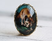 Fox Brooch ...  Vintage Woodland Illustration Glass