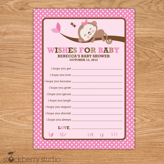 girl monkey baby shower wishes for baby card pink monkey, Baby shower invitation
