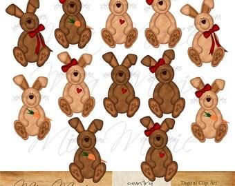 INSTANT DOWNLOAD - Digital Clip Art - Bunny Clip Art, Bunny Clipart, Rabbit Clip Art, Rabbit Clipart, Easter Clip Art, Easter Clipart