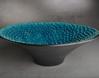 "Spiky Bowl Ready To Ship Blue Venus Dangerously Spiky Wheel Thrown 13.5"" Bowl by Symmetrical Pottery"
