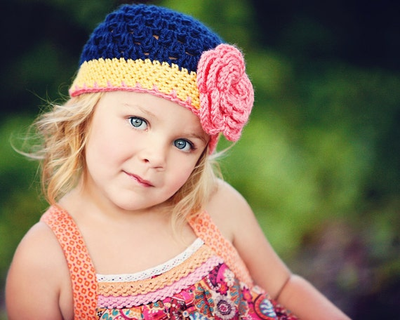 Girls Hat | Flapper Hat | Flower Beanie | Baby Hat | Crochet Hat | Womens Accessories | Spring Hat | Navy Pink and Yellow Hat | Toddler Hat