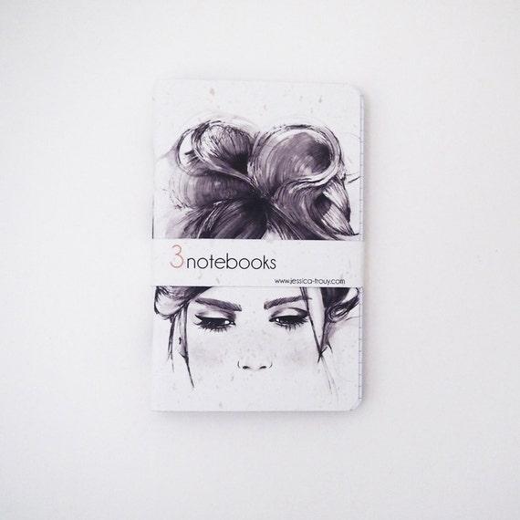 CIJ christmasinjuly Notebooks Black and white fashion illustration cover - Set of 3 - 3