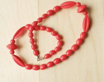 Vintage Red Bead Necklace, Long Plastic, 1960s Jewelry, Mid Century, Mod Style Fashion