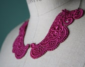 Fuchsia Bib Necklace - Handmade