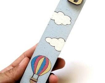 Children Mezuzah Case - hot air balloon Mezuzah, blue and white - decorative kids mezuzah -New born wooden mezuzah