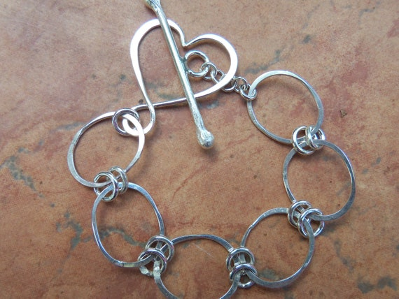 Sterling Silver Bracelet with Heart Toggle