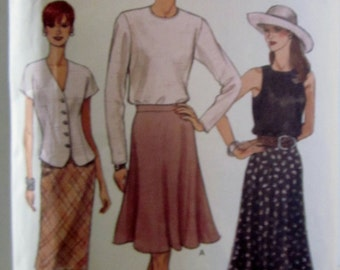Vogue 9175 Women's 90s Slightly Flared or Flared Skirt Sewing Pattern Hip 34 to 38