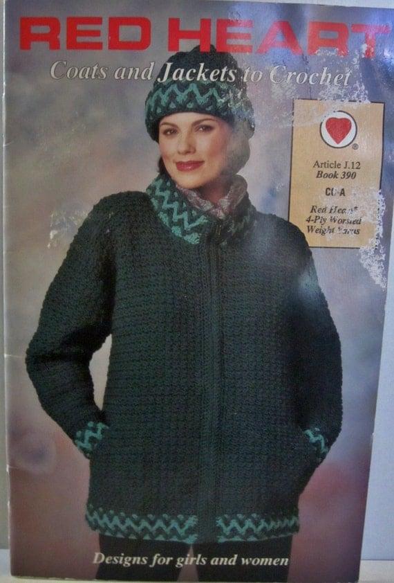 Book Cover Crochet Jacket ~ Red heart book womens girl coat jacket crochet